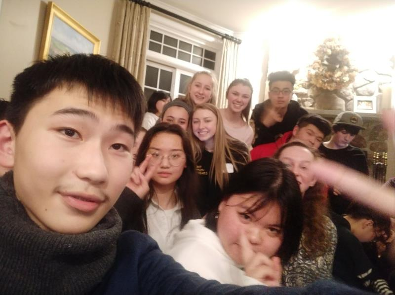 Students from Wuhan, China with KL youth exchange program in Windham NH